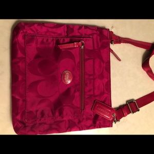 hot pink coach over the shoulder purse
